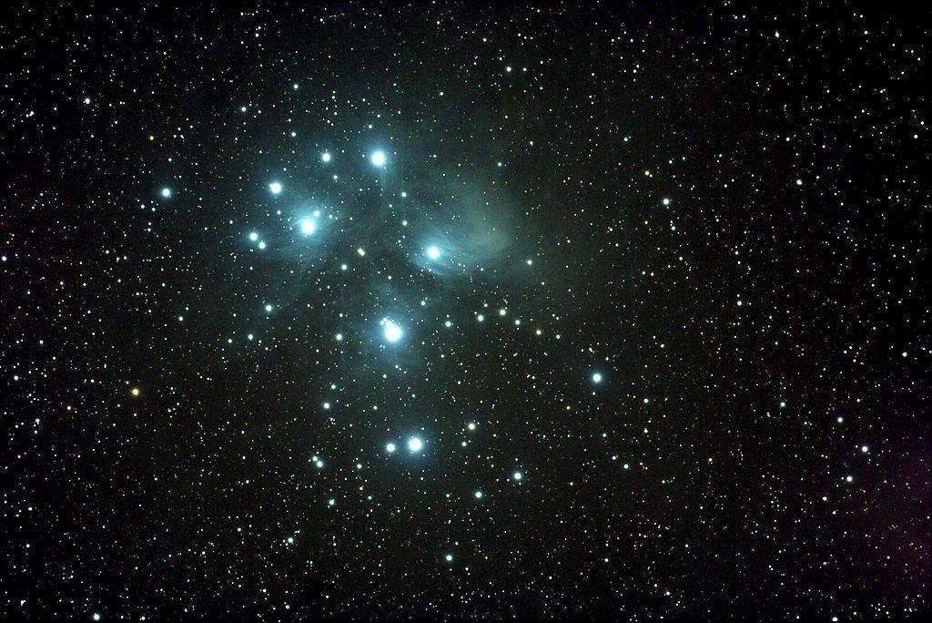 Le Pleiadi che mostra la nebulosità
