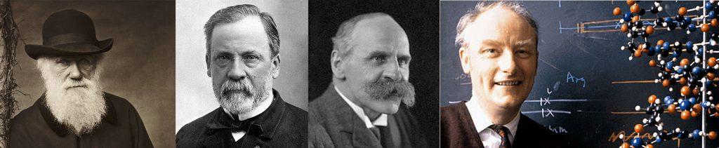 Da sinistra verso destra: C. Darwin, L. Pasteur, J.S. Haldane  e F. Crick