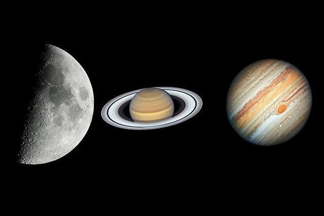 Luna, Saturno e Giove